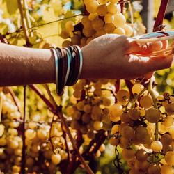 """🍇 unser armband """"frieda"""" ist der perfekte begleiter zu jedem herbstlook 🍇⠀ .⠀ .⠀ #wemadeyourbracelet #fairproduced #madeinsüdirol #naturns #komma5 #herbst #autumn #herbstlook #autumnstyle"""